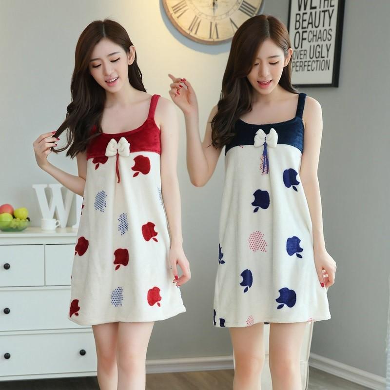 Đầm Ngủ Vải Flannel Gợi Cảm Cho Nữ