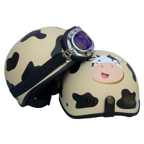 Mũ Bảo Hiểm 1/2 Tem Bò Sữa Cao Câp Màu Kem Vani - Tặng Kèm Sticker