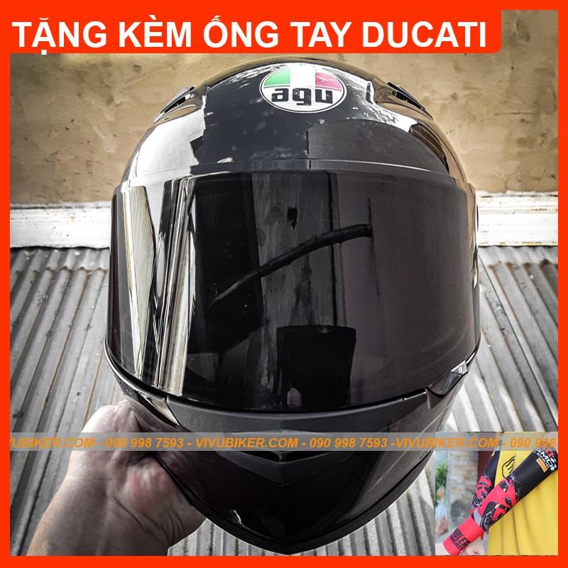 Nón bảo hiểm fullface AGU đen bóng phiên bản kính đen tặng kèm ống tay chống nắng DUCATI - Mũ Fullface đen bóng AGU đen