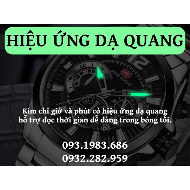 Đồng Hồ Nam MINI FOCUS MF0104G.01 Dây Thép Không Gỉ Chống Nước 6 Kim Đẹp Cao Cấp - TIGO