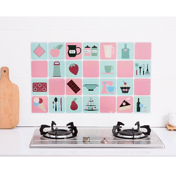 Miếng Giấy Dán Nhà Bếp Cách Nhiệt Chống Dầu Mỡ - Decal Dán Bếp (75x45cm)
