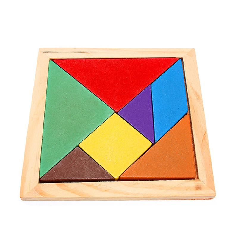 Baby Children's Wooden Toys Geometry Design Case Brain Training Chinese Tangram Toy 7 Parts Jigsaws &Puzzle Rainbow