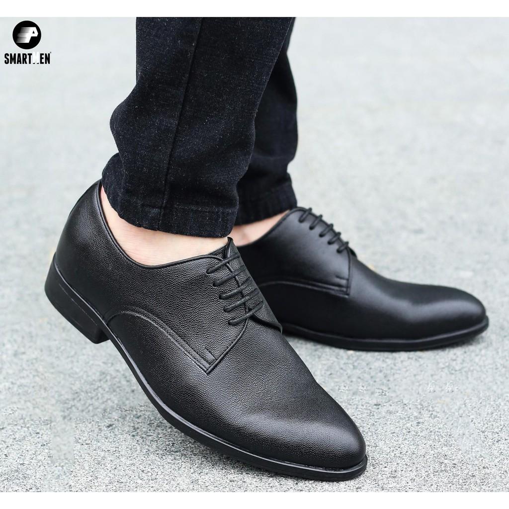 Giày tây nam tăng chiều cao da bò vân sần BẢO NGỌC STORE TC233 Đen Sần