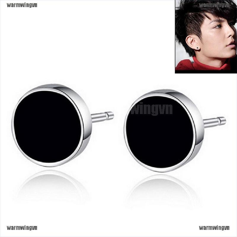 1 Pair Punk Style Round Earring Young Man Special Rebel Steel Ear Stud ingvn