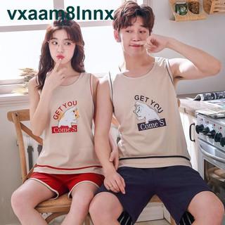 Vest couple pyjama nữ quần đùi cộc tay mùa hè bộ quần áo cotton mỏng Mùa hè Nam Sinh viên Thanh niên Trang phục