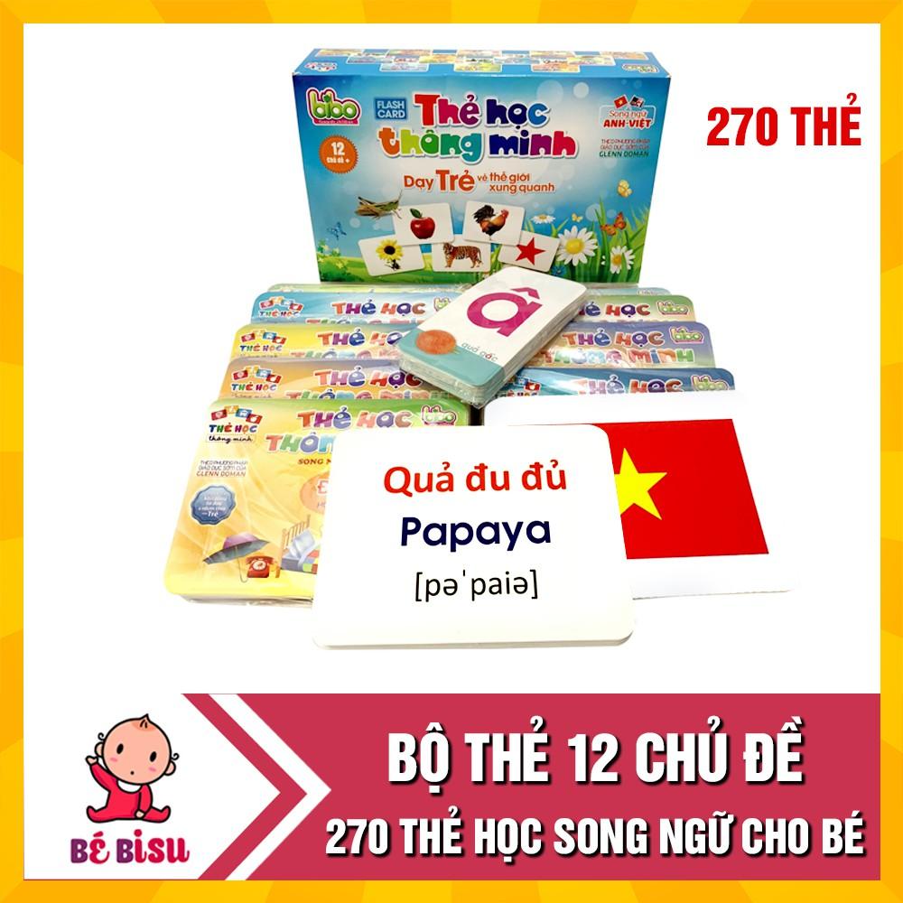 Bộ thẻ học thông minh 12 chủ đề cho bé loại to tặng kèm bộ chữ cái và số (270 thẻ)