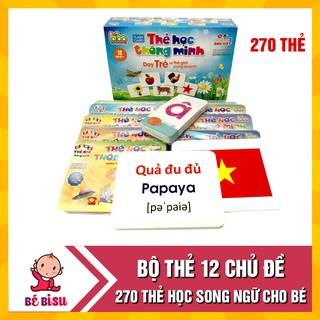 Bộ thẻ học thông minh 12 chủ đề cho bé loại to tặng kèm bộ chữ cái và số (270 thẻ) thumbnail