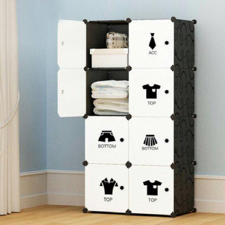 Tủ nhựa ghép - tủ quần áo - 8 ô