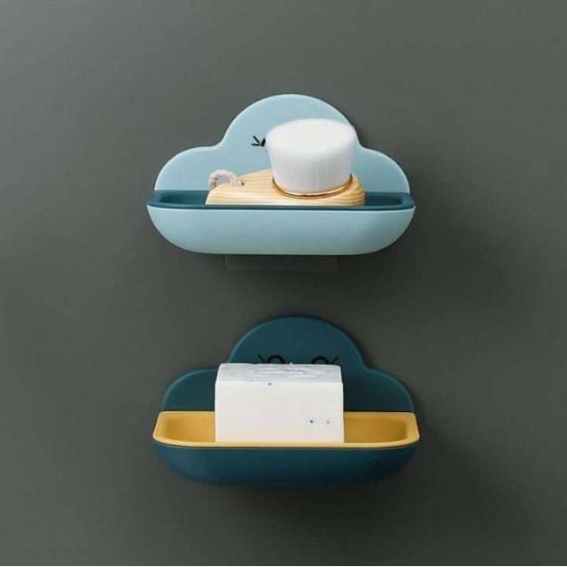 Kệ đựng xà bông hình đám mây có miếng dán tường siêu chắc chắn
