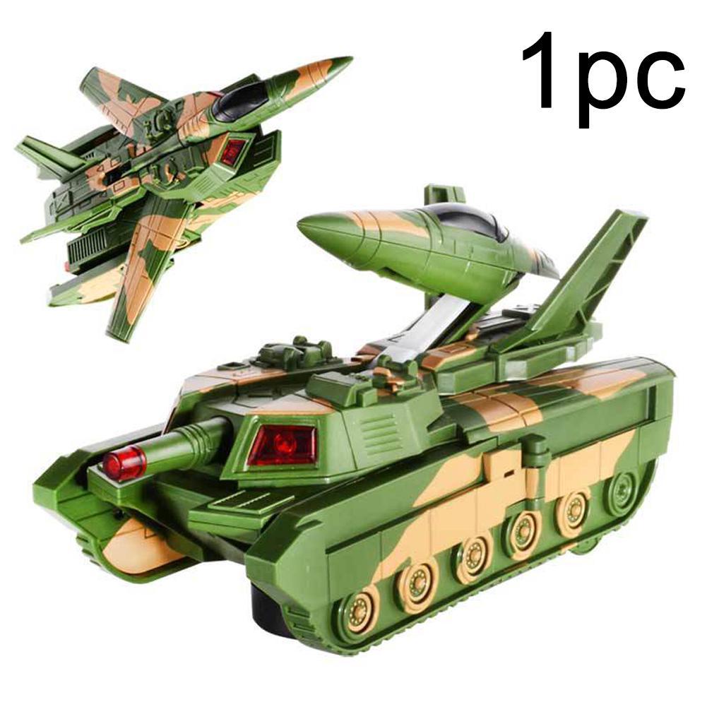Child Safe Transformation With Sound Develop Intelligence Plastic Electric Toy Tank Deformation Plane Drop Resistance