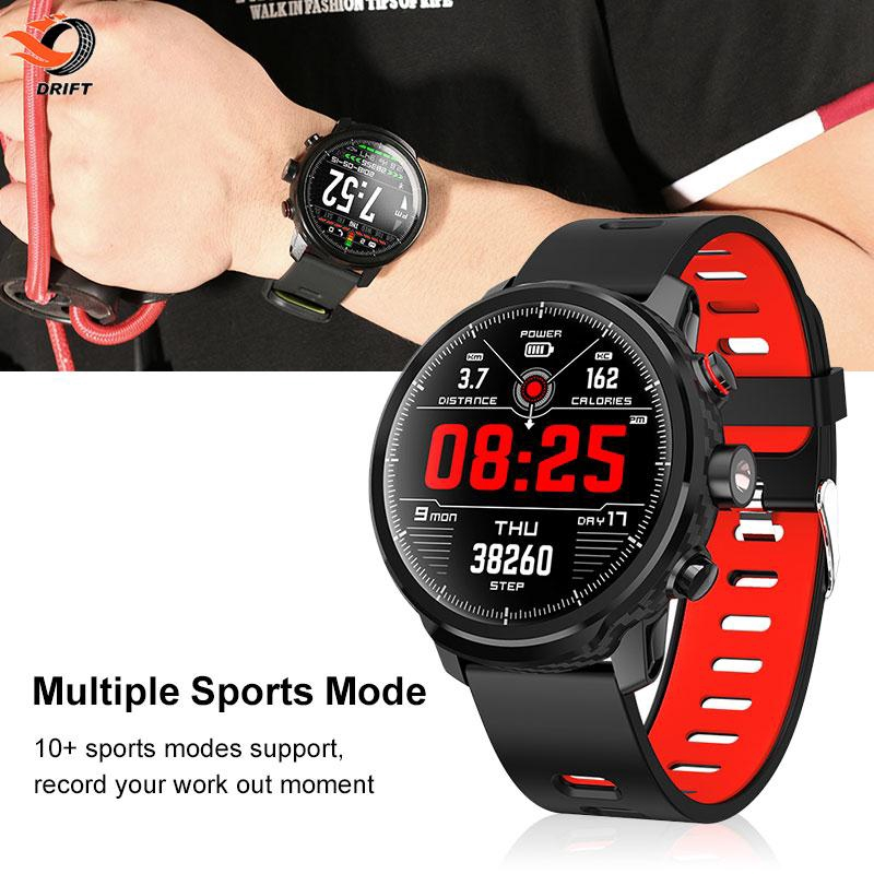 DR Smart Watch Carbon Fiber IP68 Monitoring Step Counter Message Hints Waterproof