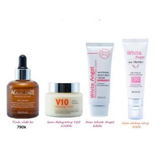 Bộ 4 sản phẩm dưỡng trắng da cơ bản của Skinaz Hàn Quốc -Tinh chất bơ, Kem V10, Kem White Angel va kem chống nắng Skinaz