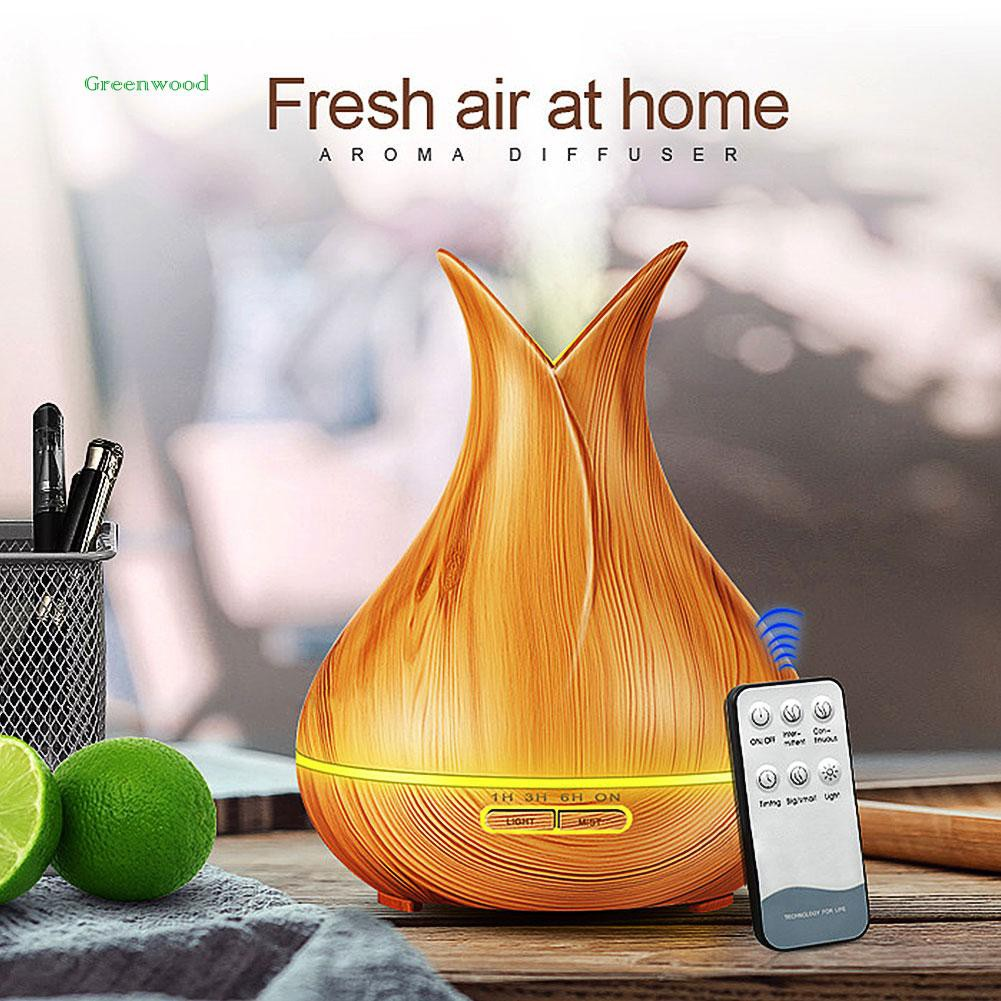 GREEN   Wood Grain Aroma Essential Oil Diffuser Ultrasonic Air Humidifier with LED Light