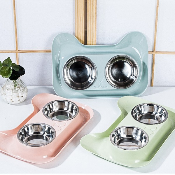 Pet Stainless Steel Double Bowl for Dog Teddy Cats Eating Drinking