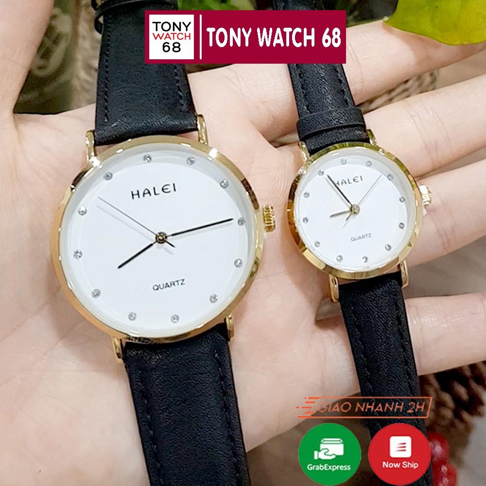 Cặp đồng hồ đôi nam nữ Halei dây da chính hãng Tony Watch 68 chống nước chống xước
