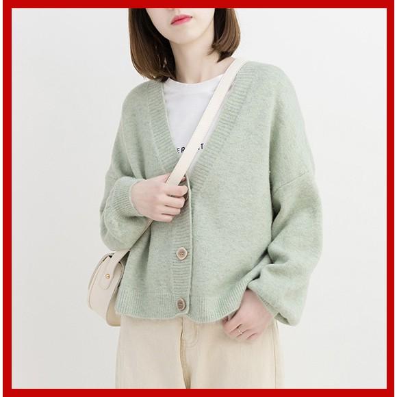 [Giảm 10K: Mã VENU10K] Áo Cardigan khoác len basic dáng ngắn cổ chữ V, tay bồng hàng quảng châu cao cấp
