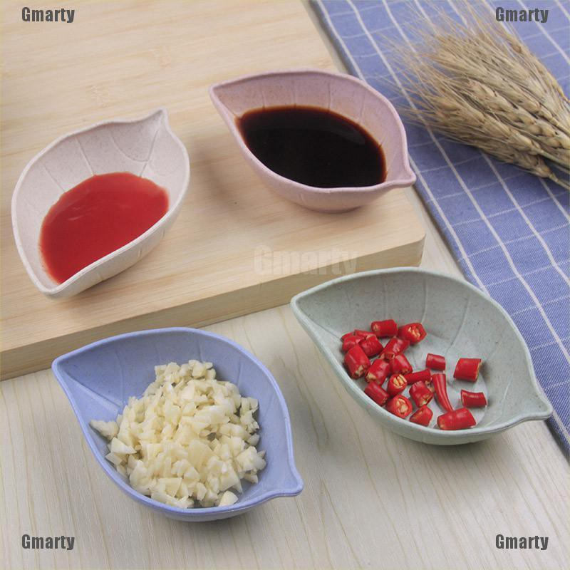 Gmarty leaf shape fruit snack sauce bowl kids feed food container tableware dinner plates
