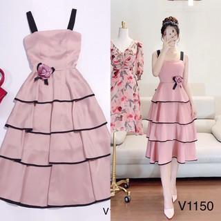 👗👗👗 ☘️ Đầm nữ dự tiệc dạng tầng cao cấp chất ford freesize màu hồng kèm ảnh thật☘️