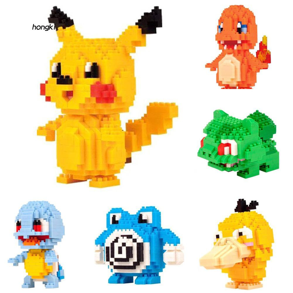 【HKM1】DIY Building Blocks Diamond Anime Pocket Monster Pikachu Psyduck Development Toy