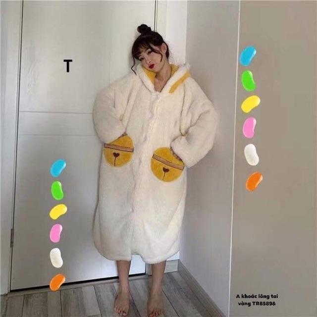 Áo khoác lông tai gấu vàng dáng dài - TR