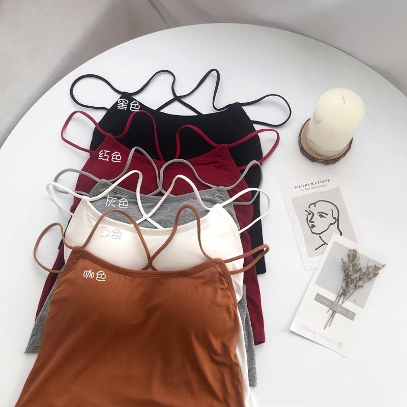 Áo thun ôm dáng kiểu dáng đơn giản dây bắt chéo cho nữ
