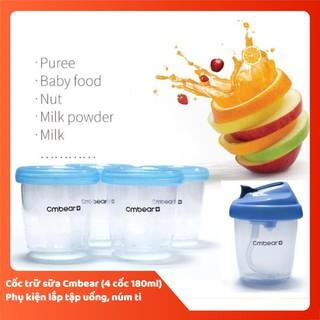 Cốc trữ sữa đa năng Cmbear (hộp 4 cốc, tặng núm ty, adapter )