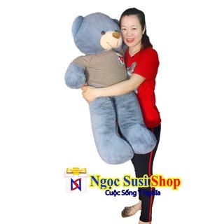 Thú Bông Gấu Bông TEDDY Mặc Áo Xám 1m1 – Giá Rẻ Vô Địch