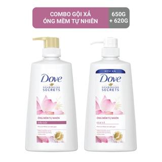 Combo dầu gội 650gr dầu xả 620gr Dove thiên nhiên Óng mềm tự nhiên