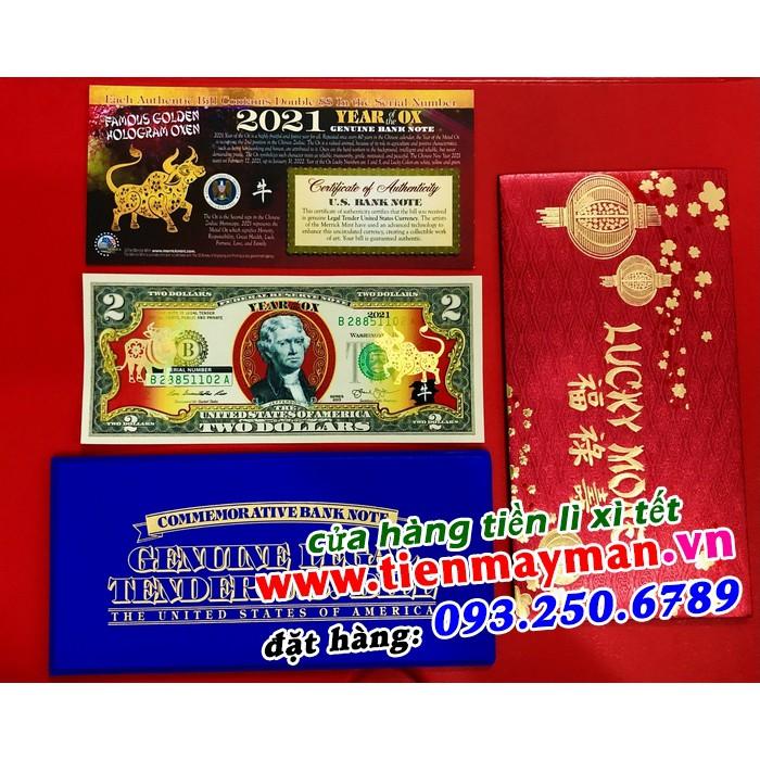 Tiền 2 USD Hình Con Trâu Mạ Vàng 2021 Lì Xì Tết May Mắn Tài Lộc, Quà tặng phong thủy Tết
