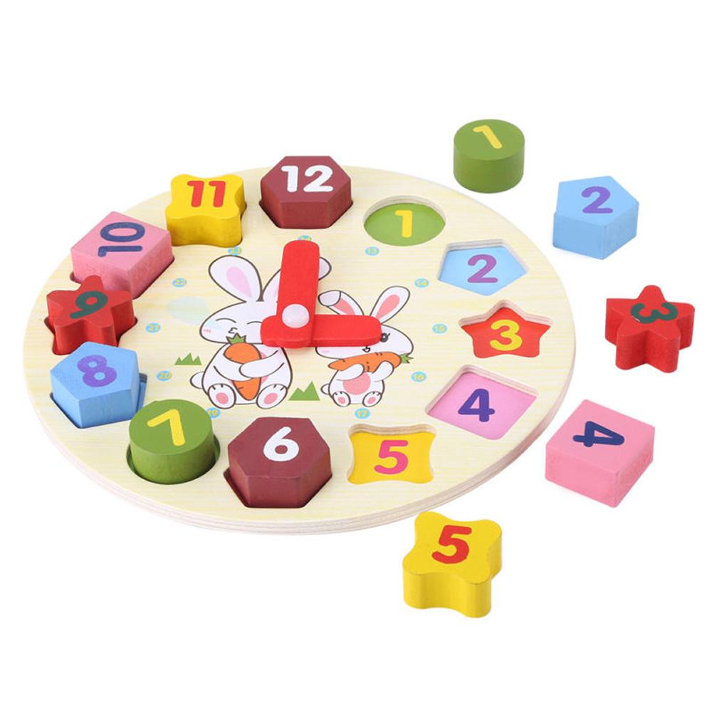 ❤ Colorful Number Puzzle Bricks Clock Educational Toy for Baby Kids Toddler Gifts#