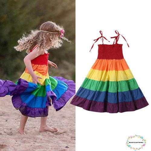 Đầm không tay dáng dài màu sắc cầu vòng năng động cho bé