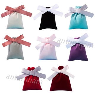 AUTU New BST 50Pcs 7x9cm Jewelry Velvet Bags with Ribbon Flannel Pouches Gift Packing Decor