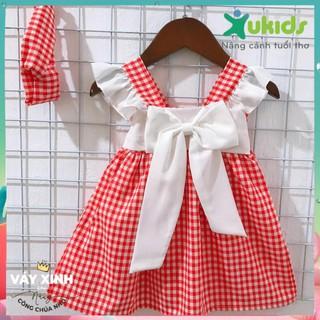 Váy kẻ đỏ nơ trắng kèm turban sang chảnh cho bé yêu của Mẹ - Váy thiết kế váy xinh cho bé