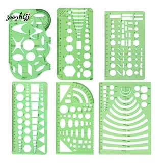 6 Plastic Geometric Stencils Measuring Templates for Office and School, Building Formwork, Drawings Drafting Templates