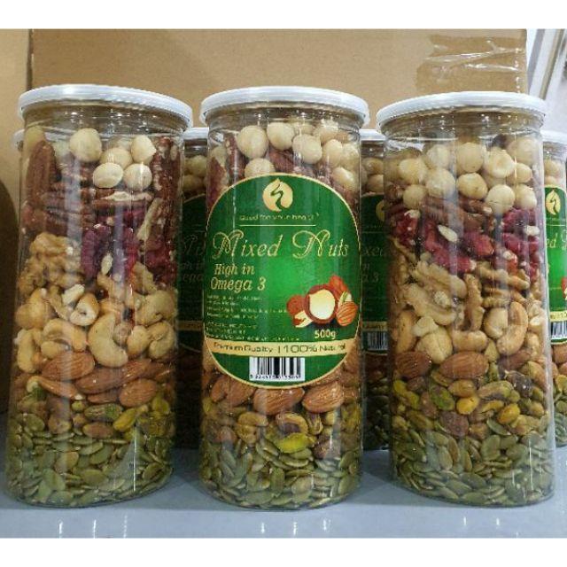 Hạt mix 8 loại hạt dinh dưỡng Macca, Óc Chó Vàng, hạt Hồ Đào , Hạt Điều, Hạnh Nhân, Dẻ Cười, Bí Xanh, Hồ đào