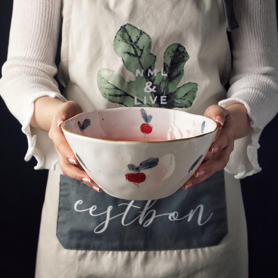 Bát tô ăn mì 🌱 bát canh bằng sứ họa tiết hoa quả 2 dung tích phong cách Bắc Âu [HÀNG CÓ SẴN]