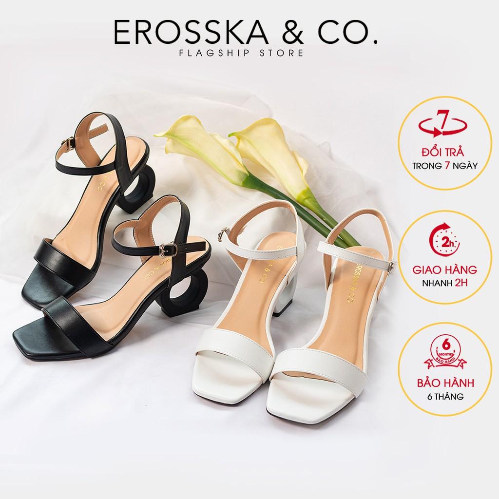 [Mã A25T2FA9 giảm 10% đơn 99k] Giày sandal cao gót Erosska hở mũi phối dây cao 5cm màu đen _ EB009