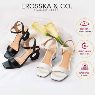 Giày sandal cao gót Erosska hở mũi phối dây cao 7cm màu đen _ EB009