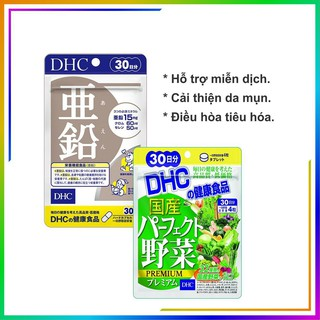 Combo Viên uống DHC Giảm Mụn – Nóng Trong 30 Ngày hỗ trợ làm đẹp da (Kẽm & Rau Củ)
