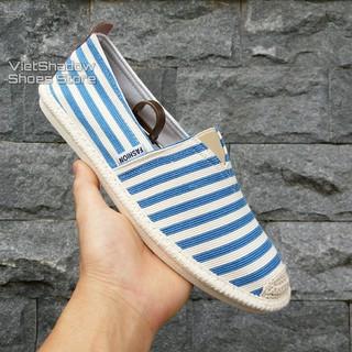 Slip on nam - Giày lười vải nam cao cấp - Vải thô sọc xanh nhạt - Mã SP 2906 (có size 44) thumbnail