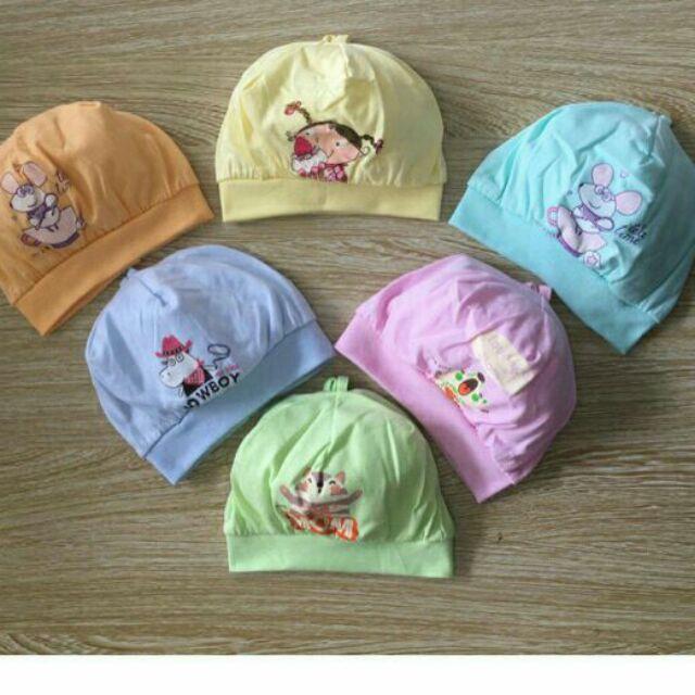 Mũ chụp sơ sinh 100% cotton loại đẹp
