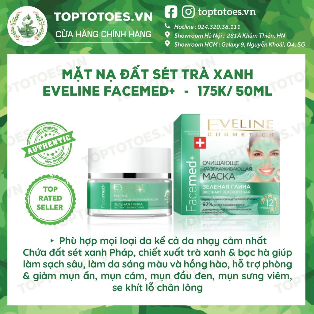 Mặt nạ đất sét trà xanh Eveline Facemed+ làm sạch sâu, kiềm dầu, ngừa viêm, sáng da
