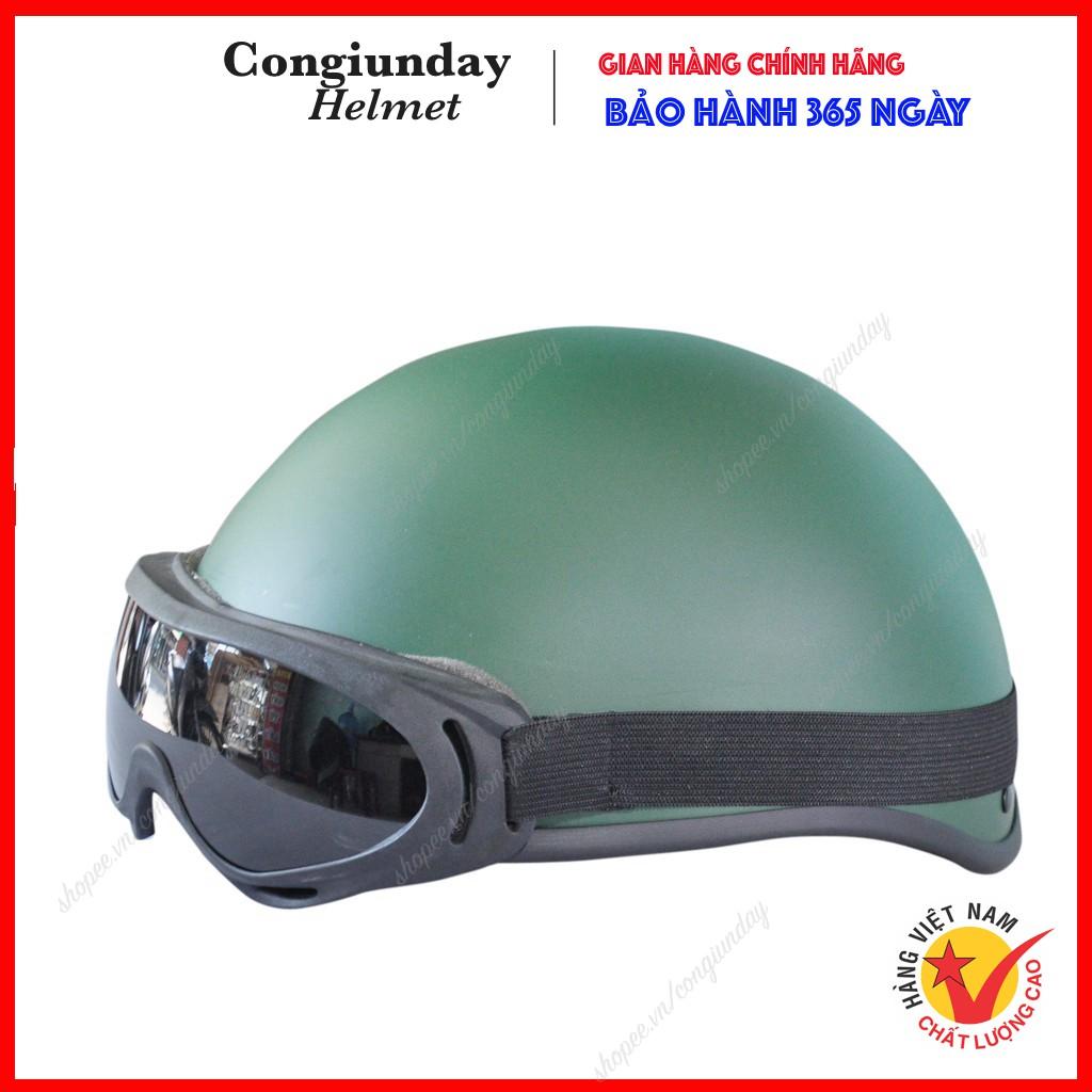 Nón bảo hiểm nửa đầu ✅TẶNG KÍNH ✅ Nón bảo hiểm 1/2 đầu có kính - Mũ bảo hiểm nửa đầu có kính