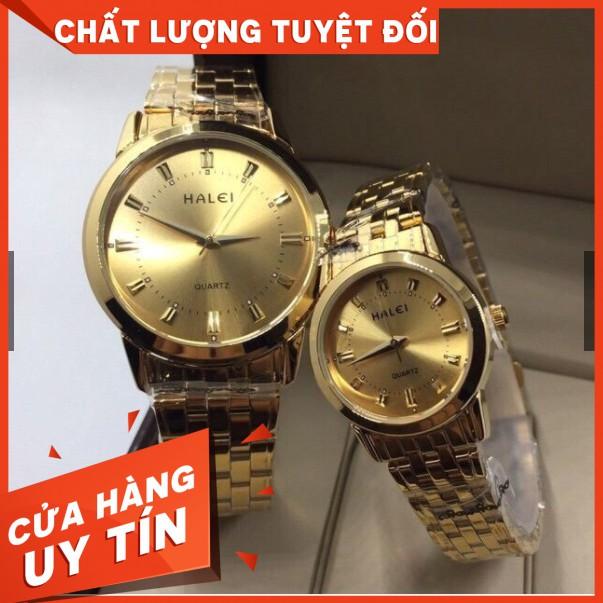 [Mã WTCHFEB giảm 20K ] Đồng Hồ Đôi Nam Nữ Halei Mã 502 Dây Vàng Chống
