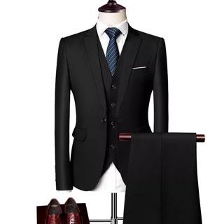 Combo đủ bộ vest nam màu đen 1 cúc siêu rẻ full size