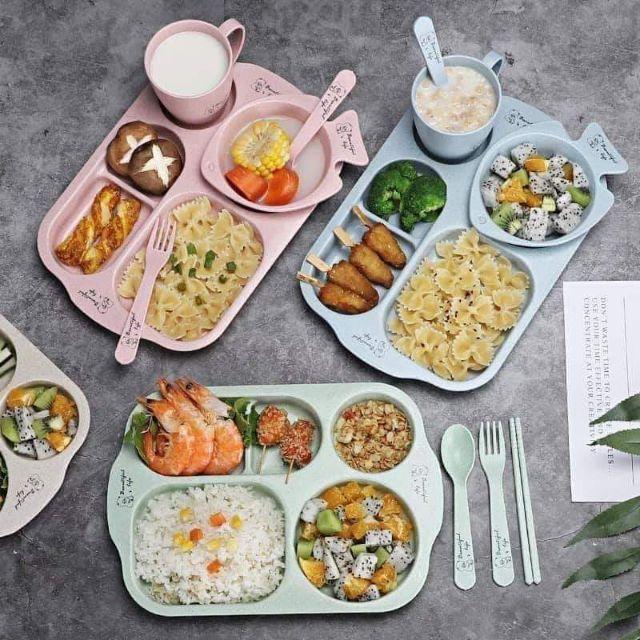 Combo 6 món - Khay ăn dặm bằng lúa mạch kèm thìa đũa ly bát cho bé - Bát  hình cá   Shopee Việt Nam