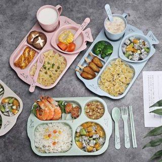 Combo 6 món – Khay ăn dặm bằng lúa mạch kèm thìa đũa ly bát cho bé – Bát hình cá