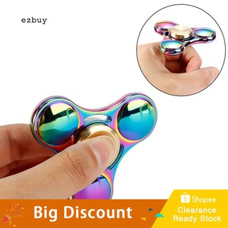 ★Ready Stock★Rainbow Finger Spinner Tri Alloy Mini Hand Spinner Adult Kids Decompression Toy