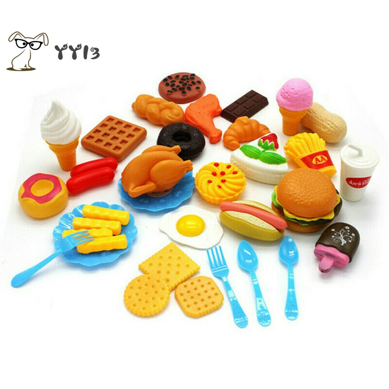 COD 34PCS Kids Toy Pretend Role Sets Pizza Food Cutting Children Gifts I3VN