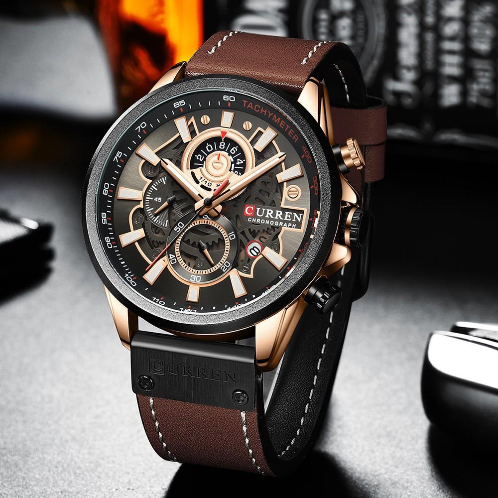 Đồng hồ nam cao cấp Curren AC04 chính hãng, dây da xịn, phong cách lịch lãm, cổ điển, chống nước tốt